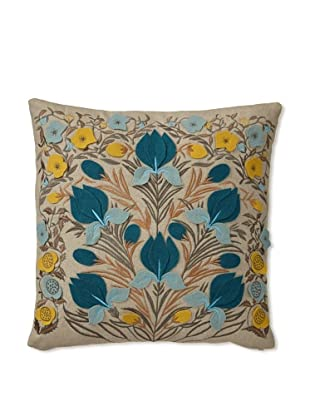 Zalva Dora Decorative Pillow, Teal/Cream/Yellow, 20