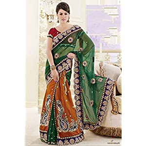 Faux Georgette and Art silk and net and Satin Lehenga Saree in Dark Green and Rust color