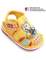 Cute Walk Check Design Baby Sandal - Bear Applique