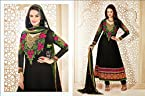 Evelyn Sharma Black Faux Georgette top, crepe bottom & inner with chiffon dupatta Resham & Zari Embroidery Anarkali Salwar Kameez Suit