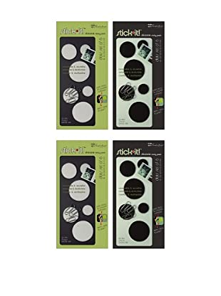 Three by Three Set of 4 Stick It! Dots, Black/White