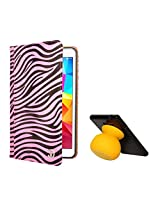 VG Zebra Print Mary Portfolio Multi Purpose Book Style Slim Flip Cover Case for Samsung Galaxy Tab4 T330/T331 8.0 (Pink) + Bluetooth Suction Stand Speakers