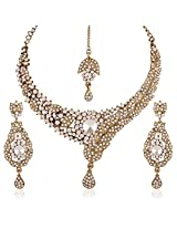I Jewels Traditional Gold Plated Elegantly Handcrafted Stone Necklace Set with Maang Tikka & Earrings for Women M4036W (White)