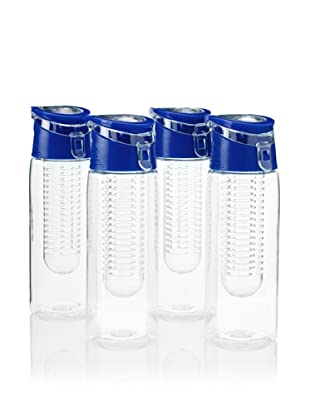 AdNArt Flavour-It Fruit Infuser Tritan Water Bottle, Blue, 20-Oz. Set of 4
