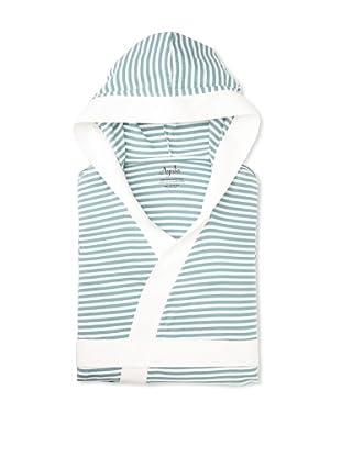 Ayrika-Nine Space Stripe Knitted Bathrobe (White/Teal)