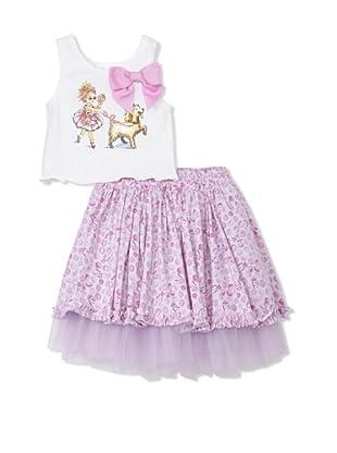 Fancy Nancy Girl's 2-Piece Dog Walker Skirt Set (Lilac)