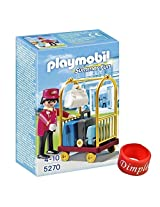 Playmobil 5270 Porter With Baggage Cart With Dimple Ring