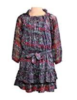 Chiffon Floral Print Tiered Frock