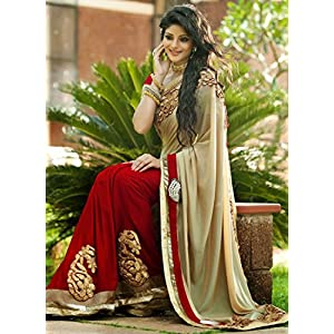 Stylo Wedding party Wear Red and Chiku Beautiful Saree