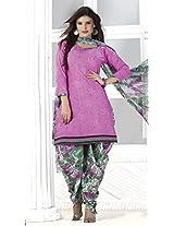 Cotton Printed Unstitched Patiala Suit - QQ1008