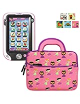 Evecase Kids Tablet Sleeve Case, Cute Princess Themed Neoprene Travel Carrying Slim Bag w/ Dual Handle and Accessory Pocket - Pink w/ Purple Trim