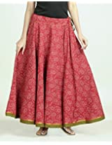 Cotton Printed Ghera Contrast Trim Long Skirt-L/XL-Red