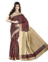 E-Vastram Cotton Silk Banarasi Saree (3Pred _Red)