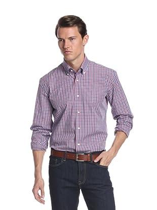 Nikky Men's Regular Fit Hand-Made Shirt (Red/Blue Check)