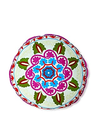 Modelli Creations Hand Embroidered Crewel Work Floor Pillow (White/Multi)