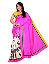 Brijraj Bhagalpuri Silk Pink Printed Saree With Unstitch Blouse
