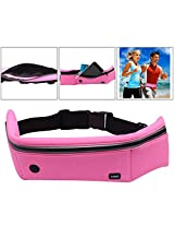 XUNOD Running Belt Waist Pouch for Men + Women, Holds all iPhones / Smart Phones + Accessories, Completely Comfortable Running Belt for Travel, Hiking or Jogging (Hot Pink)