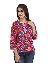Missprint Red and Blue Printed Top