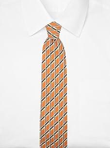 Hermès Men's Grid Tie (Orange/Black/Brown)