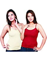 Clifton Women's Camisole's Pack of 2 Pieces - Off White-Maroon - XXX-Large