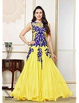 Style Mania Women's Semistitched Anarkali Suit (Yellow_Free Size)
