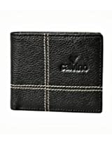 Calvino Contrast Stitch Black Men's Wallet
