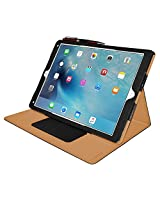 AMZER Shell Portfolio Flip Case for Apple iPad Pro, Black Leather Texture (AMZ98118)