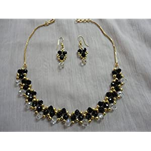 Mona Jewels Black And White Crystals Elegant Necklace With Hanging Earrings