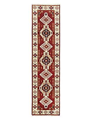 Hand-Knotted Royal Kazak Wool Rug, Dark Red, 2' 6