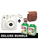 Fujifilm Instax Mini 8 - White + 40 Pack Instax Film + Brown Case + White Selfie Mirror