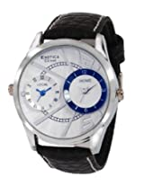 Exotica Analog White Blue Dial Men's Watch (EF-80-Dual-White-Blue)