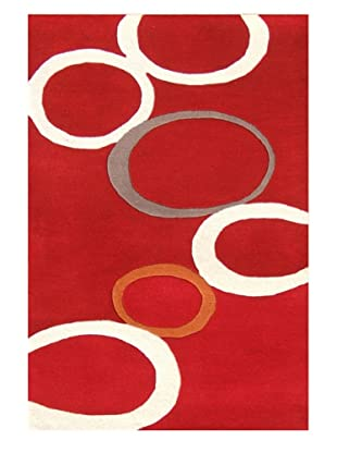 Horizon Circles Rug (Red/Ivory/Orange/Grey)