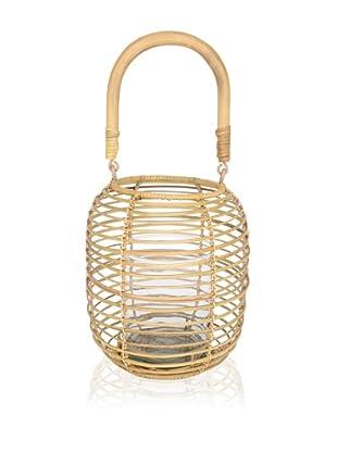 Wicker Lantern With Glass Insert- Short