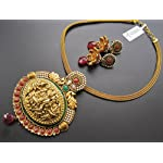Dreamz Jewels Tradition Necklace With Laxmi Pendant In Red & Earrings