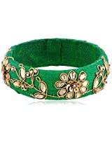 Chamak by priya kakkar Beaded Green Leaf Velvet Bangle Bracelet
