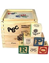 Rvold Alphabet & Number Non-Toxic Wooden Abcd And 1234 Building Blocks (27 Wood Blocks, Block Size 2Cm Cube - Small Size)