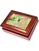 In the Garden Cottage Garden Wood Grain Finish Jewelry Music Box - Plays Song In the Garden