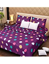 Handloomdaddy Cotton Design Double Bedsheet With 2 Pillow Covers - Purple Dots