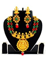 INDIAN ATTIRE WOMEN ONE GRAM GOLD PLATED SOUTH INDIAN LAKXMI TEMPLE JEWELRY / JEWELLERY