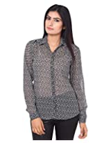 Mallika Women's Micro Fiber Regular Fit Shirt (STMWPR_9XL, Black and White, X-Large)