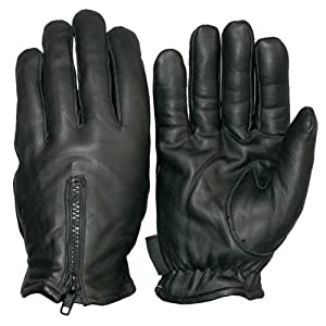 Classic Black Colored Fleece Lined Leather Gloves - Large Size by Hot Leathers