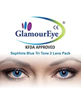 Glamour Eye Sapphire Blue Tri Tone Colour Contact Lens Monthly 2 Lens Pack By Visions India -0.00