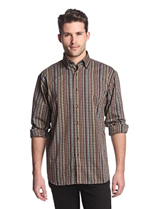 Luchiano Visconti Men's Patterned Shirt with Stripes (Brown)