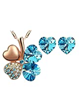Eterno Crystal Pendant Set For Women (Blue)