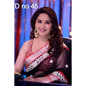Bollywood Replica Madhuri Dixit In Black Net Designer Saree