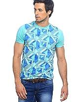 Printed Green Round Neck T-Shirt