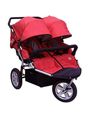 Tike Tech City X3 Swivel Double Stroller with Bonus Rain Cover, Red