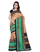 Silk Bazar Women's Tassar Silk Saree with Blouse Piece (Beige & Green)