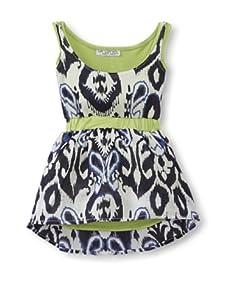 LA Lounge Girl's Tribal Print 2Fer Dress (Blue/Lime)