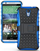 TARKAN Hard Armor Hybrid Rubber Bumper Flip Stand Rugged Back Case Cover For HTC Desire 820 - BLUE